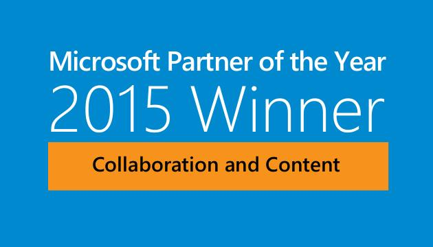 Micrsoft Partner of the Year 2015 winner